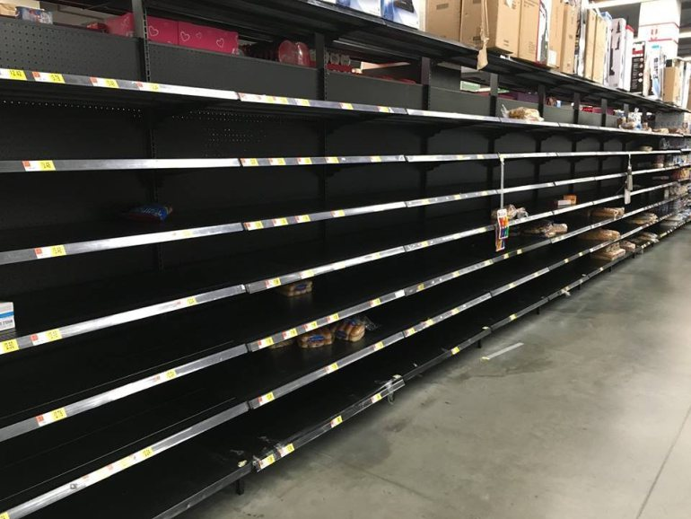 Empty shelves at Walmart in the D.C. area in preperation for snow.